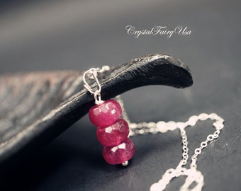 Fuchsia Stone Necklace - Sterling Silver Tourmaline Necklace - Watermelon Tourmaline Necklace - Tiny Silver Necklace Tourmaline Jewelry
