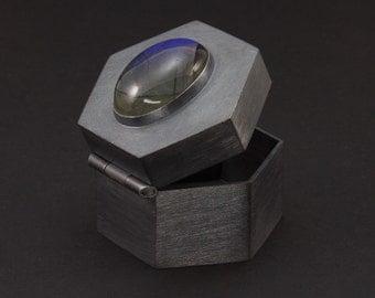 Geometric Sterling Silver Pill Box - Bezel Set Natural Labradorite - Presentation Box - Treasure Box - Hexagon Box - Engagement Ring Box