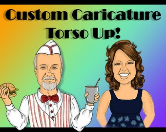 ONE custom colored digital caricature ( torso-stomach up)