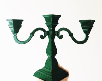 Vintage green metal candleabra