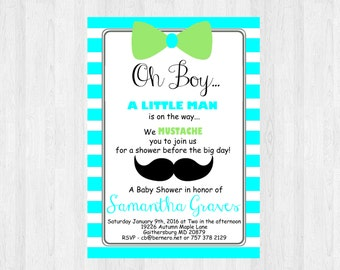 Oh Boy Baby Shower Invitation  Mustache And Bow Tie | Little Man Baby Shower  Invitation