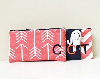 Set of 3 - Coral Cosmetic Bag - Navy Makeup Bag - Monogram Bridesmaid clutches - Personalized Pouch - Embroidered Makeup bag - Large