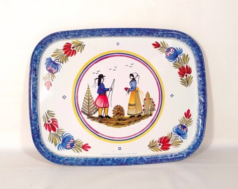 Vintage Tin Tray Platter Couple Henroit pattern