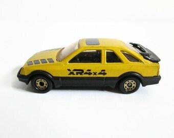 Matchbox Car, Ford Sierra XR 4x4, Vintage Toy Car, Yellow Car, Sports Car, Ford Car Miniature Car, Racing Vehicle, Off Road Vehicle, Vintage