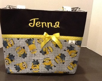 Personalized  extra large tote bag with lots of pockets made with minions fabric