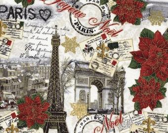 Paris Christmas Fabric - Joyeux Noel Christmas Collage  - Timeless Treasures - CM 4286 (Metallic accent)  - Priced by the Half Yard