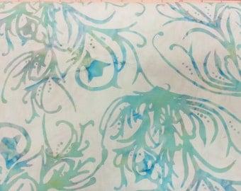 Seaweed Swirl Batik Fabric - Artisan Indonesian from Majestic Batiks - SPD 316 - Blue, Priced by the 1/2 yard