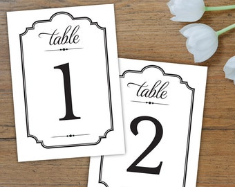 DIY Table Number Cards - Traditional Style Fonts - Simple Border - Instant Download