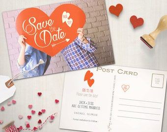 Save the Date Postcard, Heart Valentine Save the Date, Customizable Printable Design