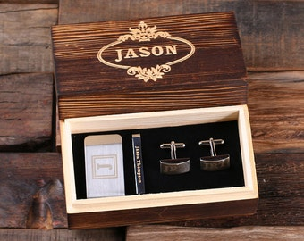 Set of 4 Personalized Gentleman's Gift Set Cuff Links, Money Clip, Tie Clip Groomsmen, Father's Day and Dad Men Boyfriend Christmas (025332)