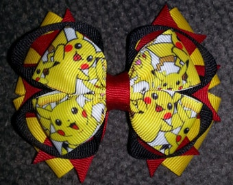 Pokemon Handmade Yellow Red Black Stacked Boutique Bow