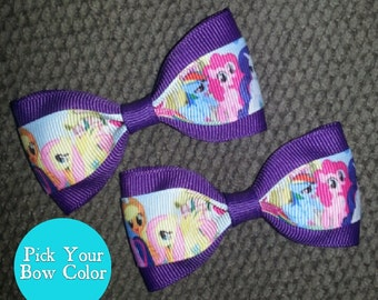 My Little Pony Handmade Pigtail Hair Clip Set 3 inches