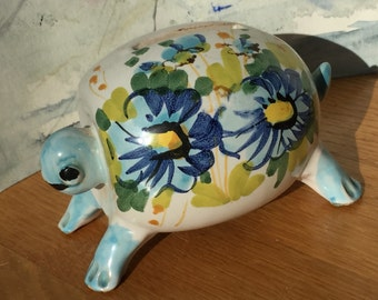 Italy Mid Century Pottery Turtle Bank 60's Tiny
