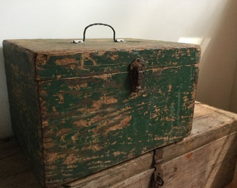Industrial Green Wooden Tool Chest Chippy Paint Storage Box