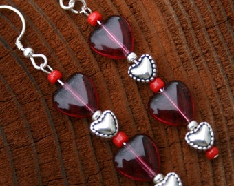 Red and silver sweet heart earrings
