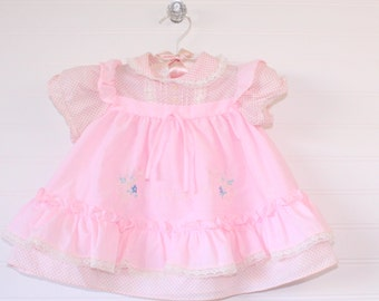 Vintage baby dress. Baby Pink polka-dot, No name for 6-9 Mo