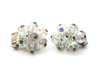 Signed Pearlcraft AB Crystal Clip Earrings Small Vintage Aurora Borealis Crystal Silver Tone Bead Cluster Clip On Earrings 1970s - Wedding