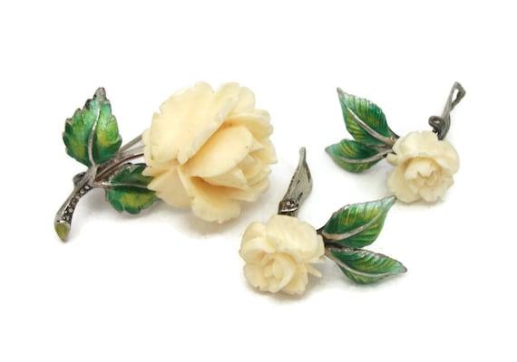 Hand Carved Bone Rose Sterling Silver Marcasite Flower Brooch