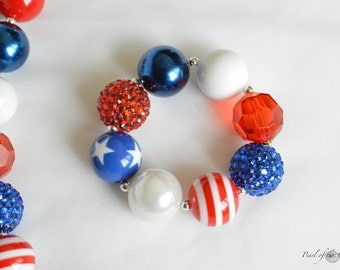 baby toddler girl women bracelet red white blue 4th of July chunky statement bubblegum bracelet stars stripes flag independence jewelry gift