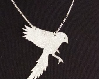 Landing Bird Re-purposed Leather Necklace