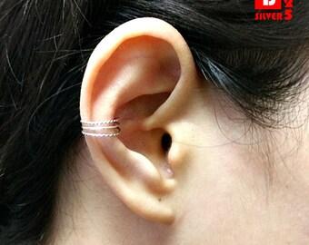 925 Sterling Silver Oxidized Earrings, Ear Cuff Earring (Code : K46)