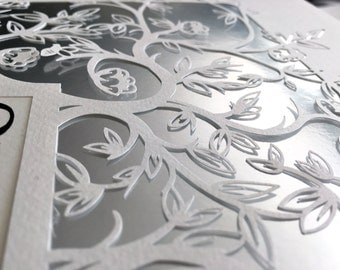 Papercut Ketubah Ornate Flowers and Branches - White on Metallic Backing