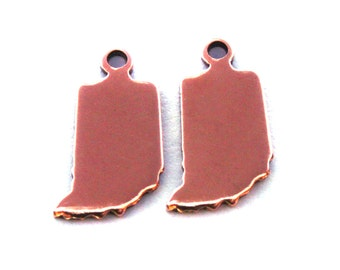 2x Rose Gold Plated Blank Indiana State Charms - M132-IN
