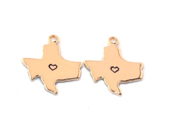 2x Gold Plated Texas State Charms w/ Hearts - M115/H-TX