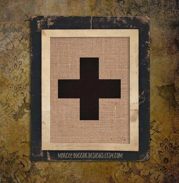 Swiss Cross | Cross | Scandinavian  | Burlap Gift | 8x10 | #0142