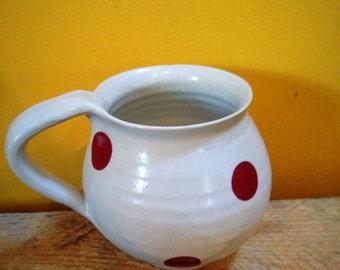 Polka dots red spots stoneware mug