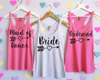 Bridesmaid Tank Tops Arrow Design. Bachelorette Tank Tops. Wedding Tank Tops. Bridesmaid Shirts. Bridesmaid Tees. Maid of Honor