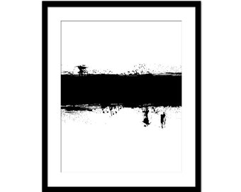 Abstract Grunge Black and White Paint Stroke Print