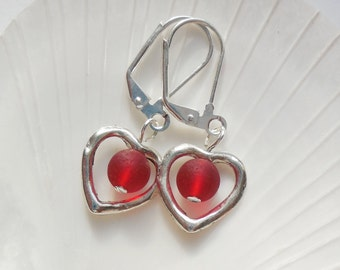 Cherry Red Sea Glass Earrings, Sea Glass Jewelry, Beach Glass Earrings, Beach Glass Jewelry, Silver Heart earrings. FREE SHIPPING in the US.
