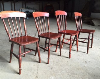 TWO sturdy farmhouse kitchen dinning spindle chairs