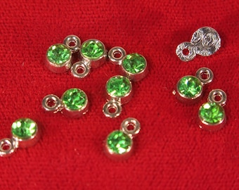 "10pc 5mm ""green Peridot"" color charms in antique silver style (BC1108)"