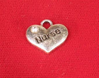 "5pc ""Nurse"" charms in antique silver style (BC1119)"