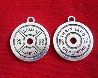 """BULK! large 10pc """"train hard"""" charms in antique silver style (BC723B)"""