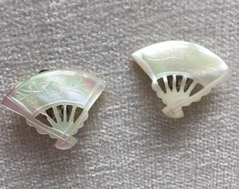 CLEARANCE SALE Mother of pearl fan clip on earrings