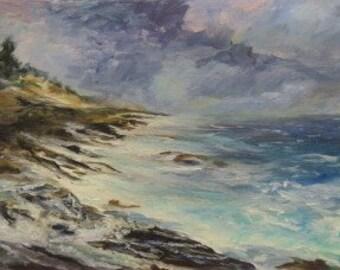 Wild Pemaquid Coast, Original, Oil Painting, Maine, Impressionist