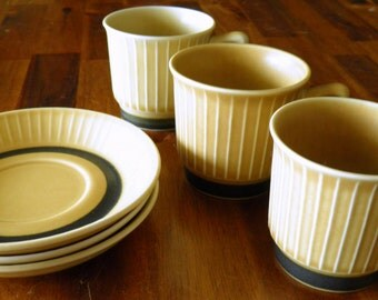 "Set of Mid Century Stavangerflint (Norway) ""Norrøna"" Cups & Saucers--3 + 3--Inger Waage Design--Excellent Condition"