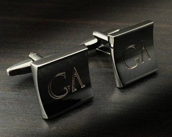 Personalized Cuff Links Engraved for Free, Gunmetal Crescent Designer Cuff Links Customized
