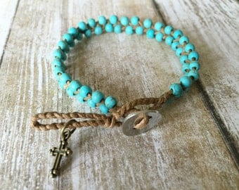 Turquoise Gemstone Christian Catholic Bracelet Shamballa Closure Double Braided Beaded Friendship