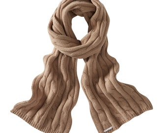 Soft camel cable lambswool scarves. Knitted in Scotland