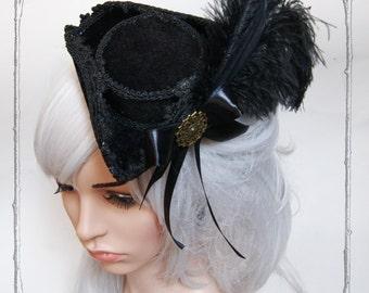 """Mini Tricorn """"Duchesse"""" ( Steampunk, black, Goth  )"""