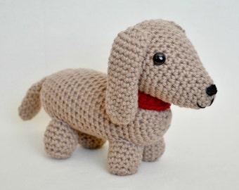 PATTERN: Dudley the Dachshund Crochet Pattern - amigurumi, stuffed animal, dog