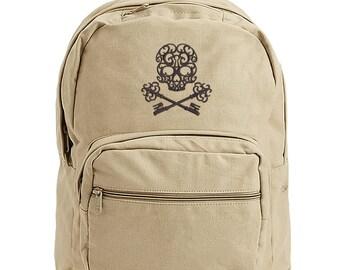 Skull bag, Skull Bookbag, Skeleton Key Bag, Skeleton Key Canvas Bag, Baroque Passkey Embroidered Canvas Backpack with Leather Accents