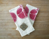 Pomegranate Tea Towel Set - Fruit Kitchen Towel, Silk Screen Printed Towel, Hostess, Gourmet Gift, Garnet Red, Folk Art Style, Holiday Decor