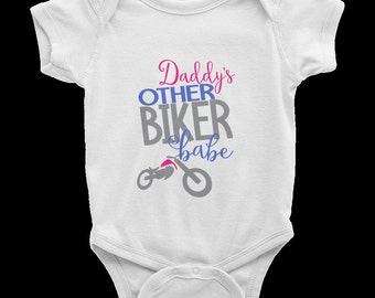 Daddy's other biker babe short sleeve body suit, short sleeve creeper, short sleeve body suit