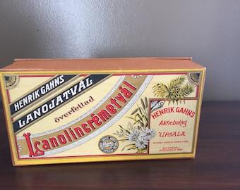 "Vintage Swedish Box  ""Henrik Gahms Lanolincremetival"""