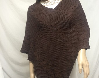 Knit poncho,cable knit Poncho, brown knit poncho, cableknit, shawl wrap,knit poncho,small poncho, free shipping in the US